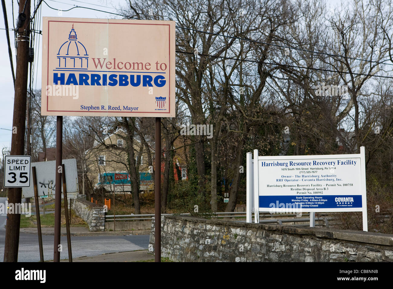 A view outside of the Harrisburg, Pennsylvania trash incinerator.  - Stock Image