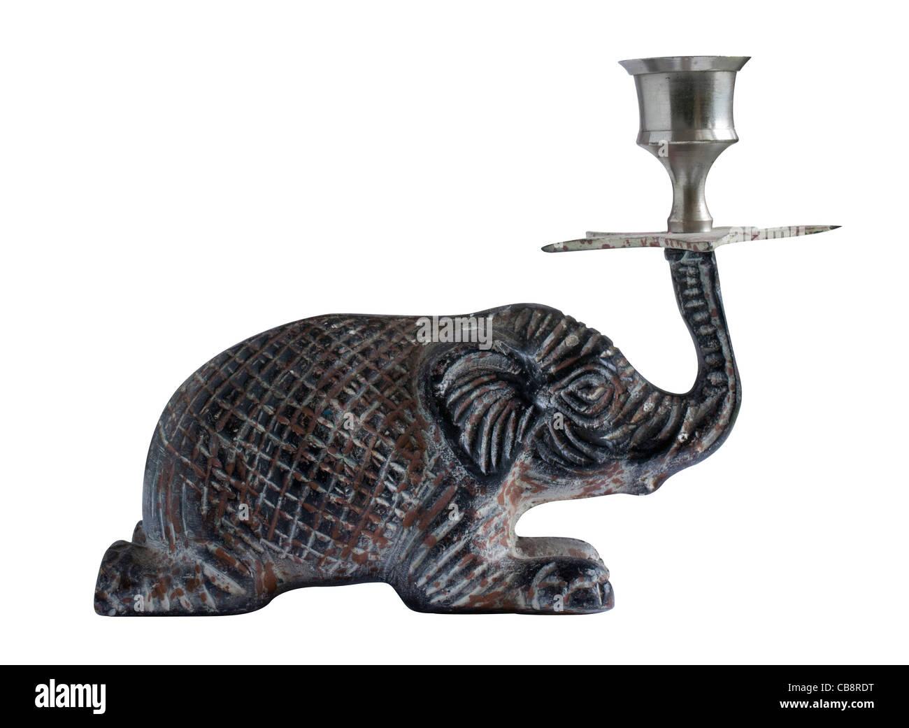 candlestick elephant on white - Stock Image