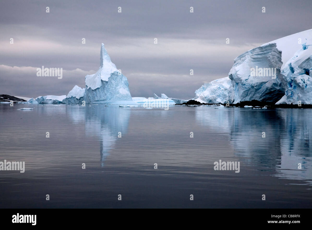 Icebergs in the Lemaire Channel / Kodak Gap, Antarctica - Stock Image