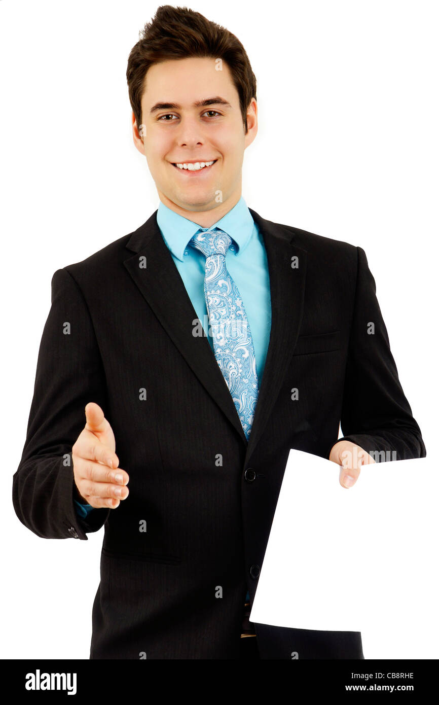 Handsome Young Man In Formal Business Suit Shaking Your Hand And