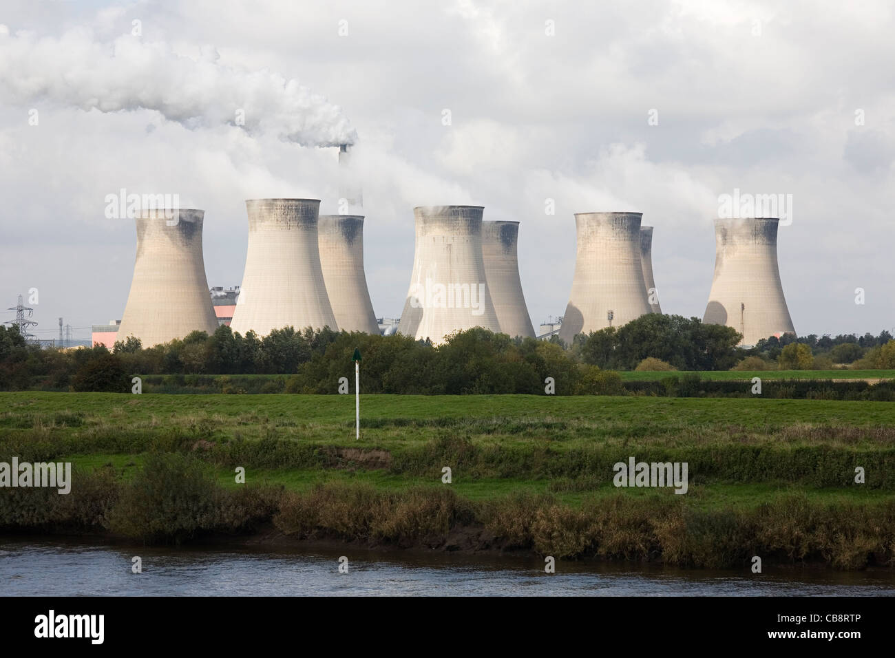 Cottam Power Station Cooling Towers and River Trent - Stock Image