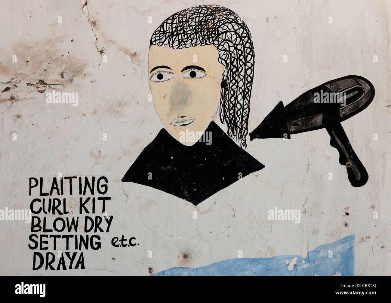 Hairdresser Sign On A Wall In Lamu Kenya - Stock Image