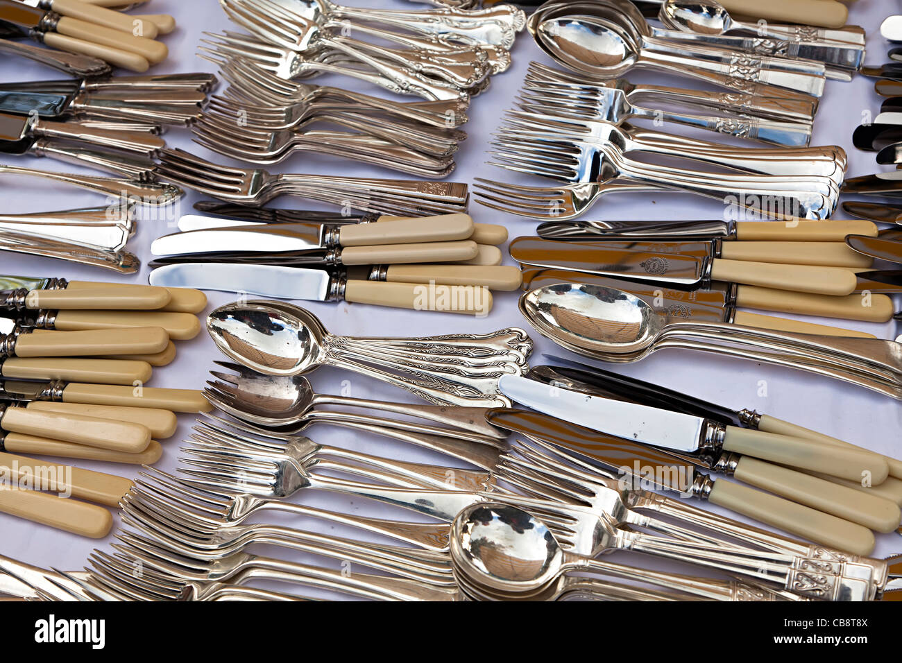 Second hand bone handled cutlery on sale at market stall Wales UK - Stock Image