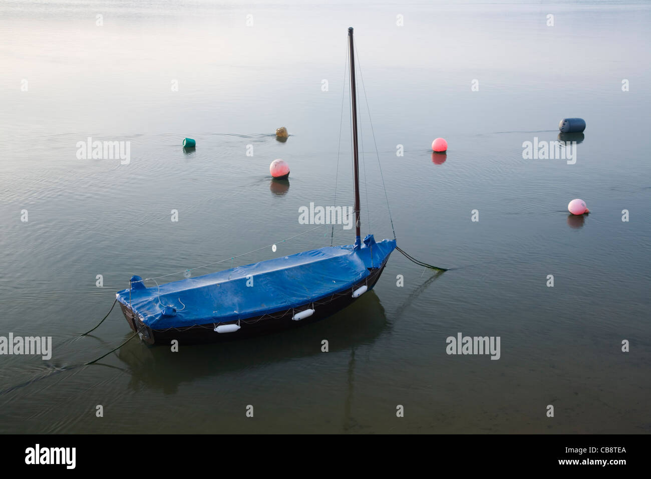 Boat moored on the Torridge estuary at Appledore. Devon. England. UK. - Stock Image