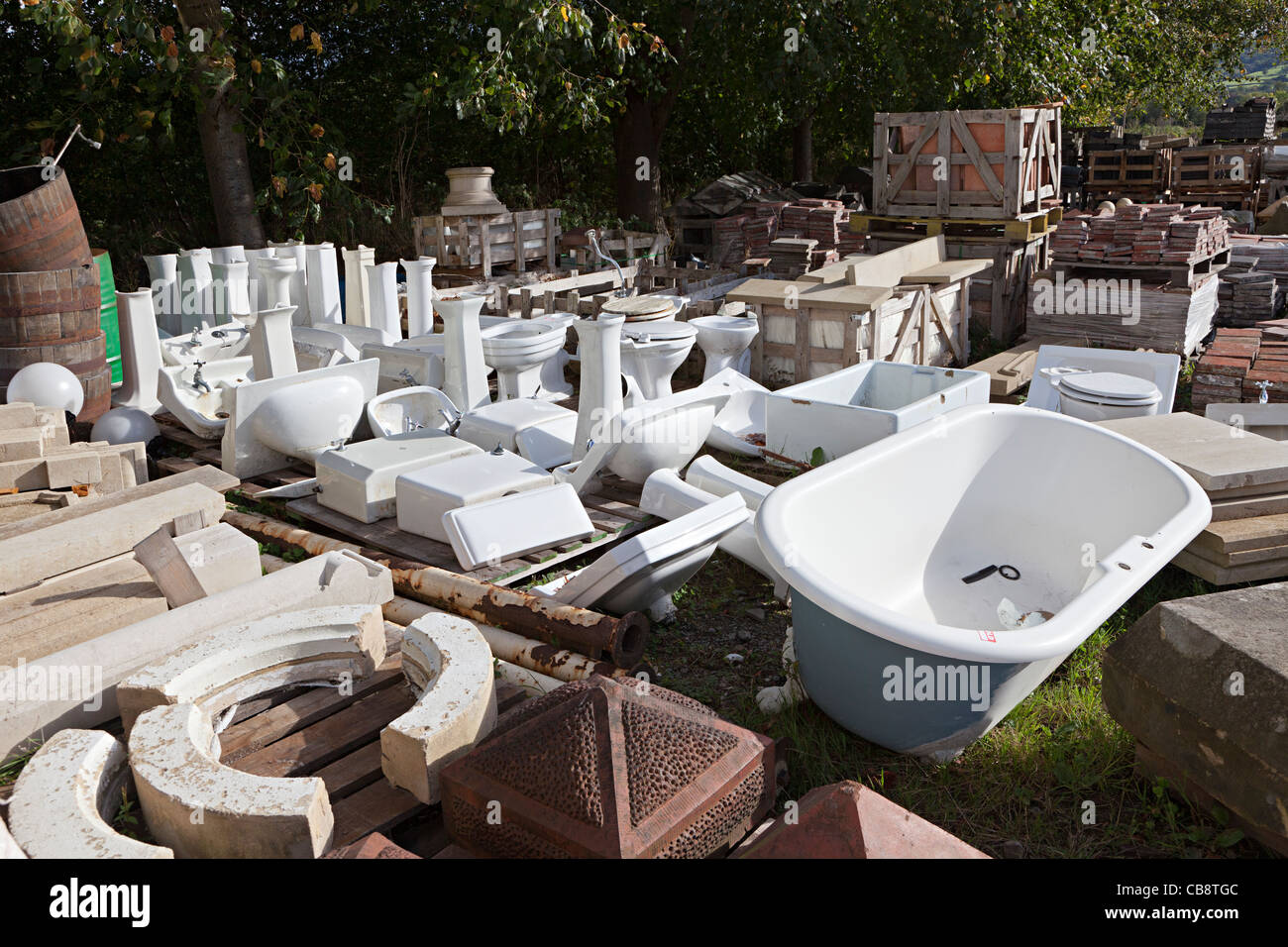 Bath and plumbing fixtures in architectural salvage yard Wales UK ...