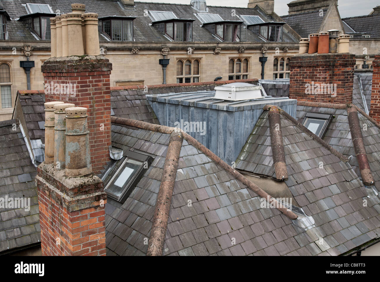 Roof landscape as seen from the Jesus College Oxford, UK - Stock Image