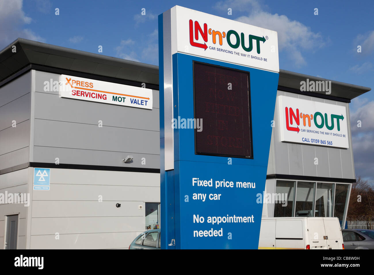 An In N Out Car Service Centre In Nottingham England Uk Stock