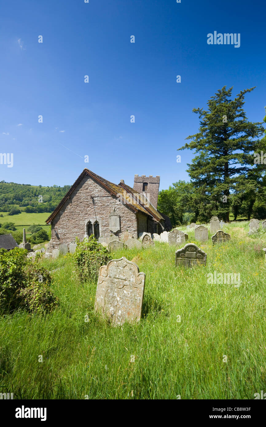 St Martin's Church, Cwmyoy. The Black Mountains. Brecon Beacons National Park. Powys. Wales. UK. - Stock Image
