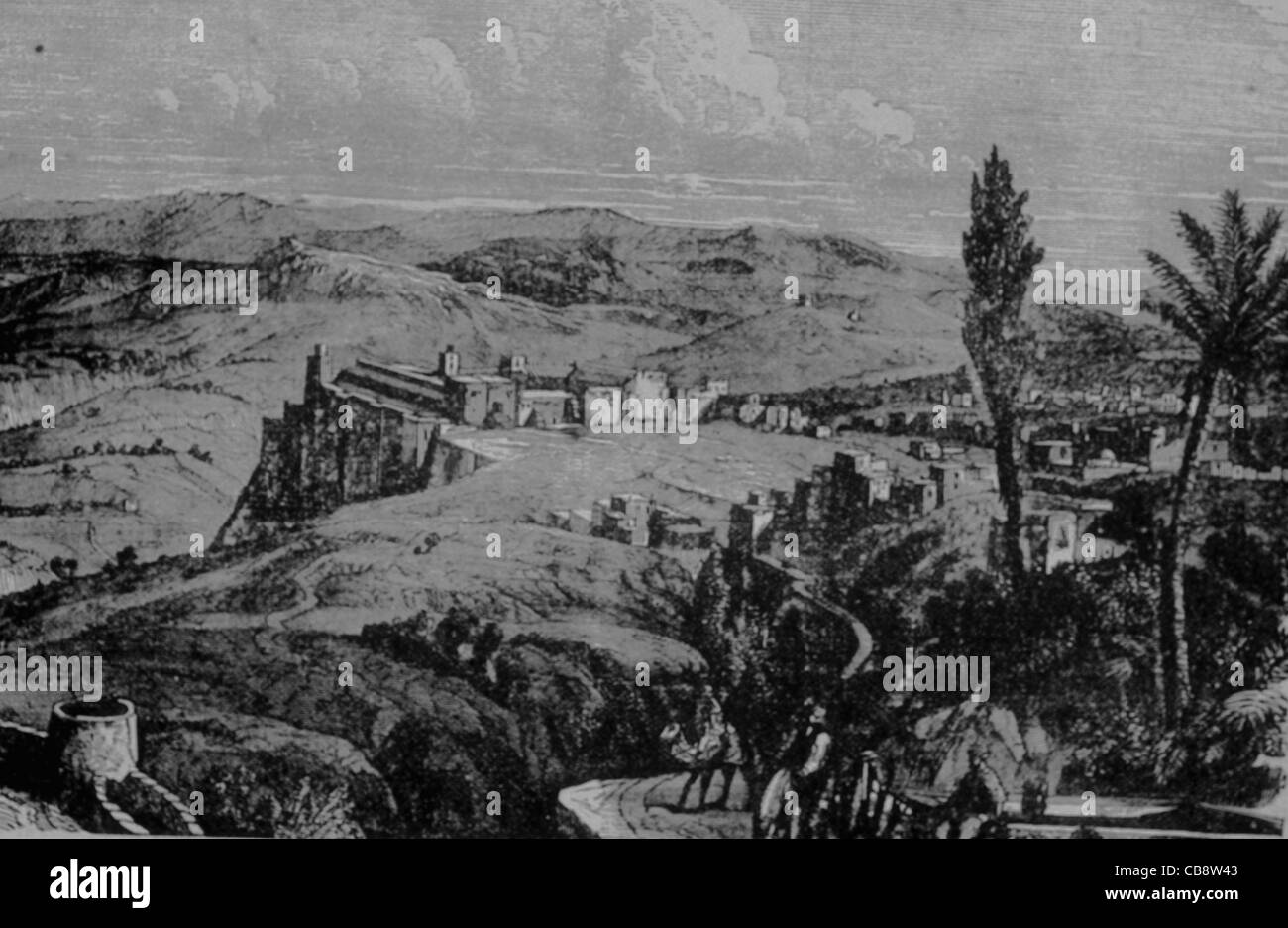 Lithograph of Bethlehem as it may have looked in medieval times - Stock Image