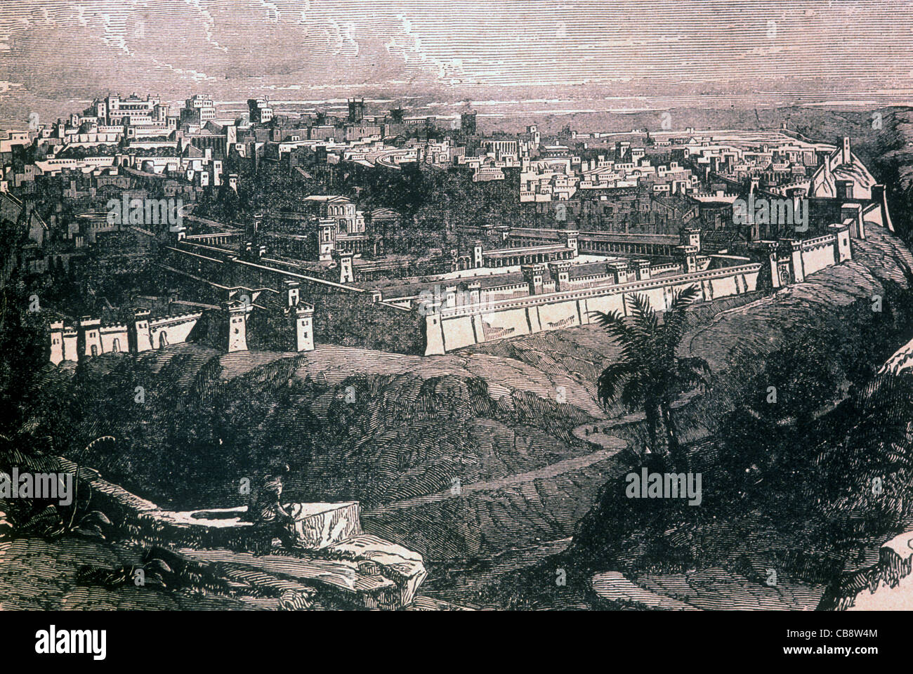 Lithograph featuring Jerusalem as it may have looked in the Day of Our Lord - Stock Image