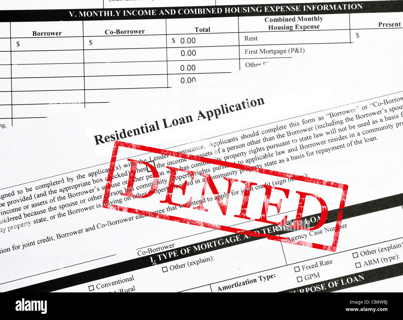 Denied stamp on a residential mortgage loan - Stock Image