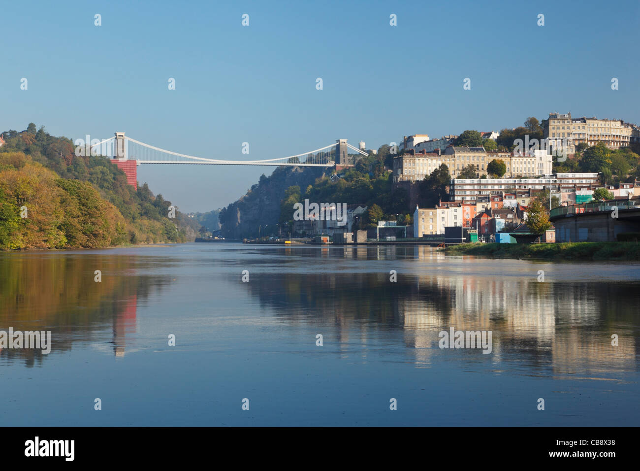 The River Avon and the Clifton Suspension Bridge during High Spring Tide. Bristol. England. UK. - Stock Image