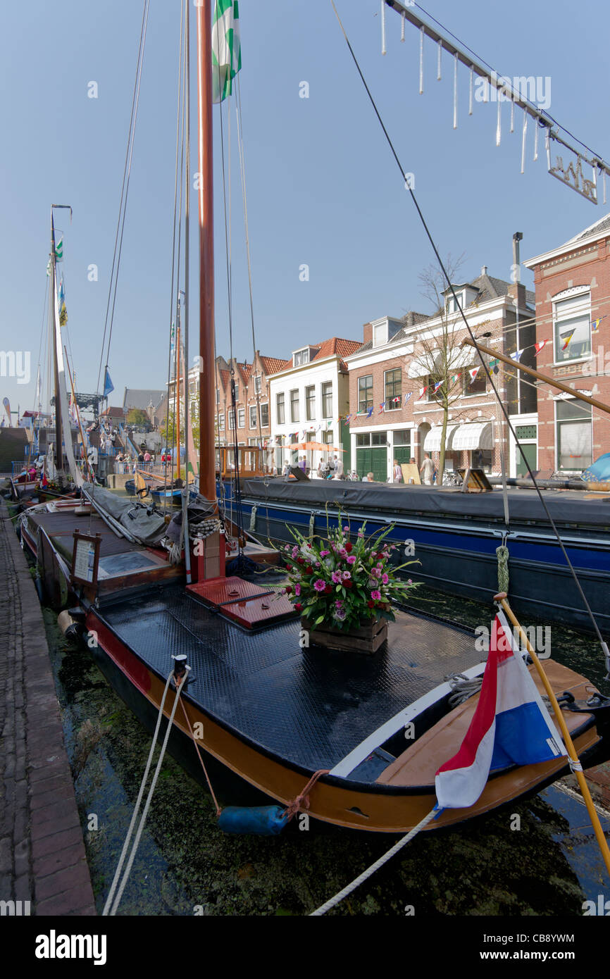 Old sail freight ships in Maassluis during the Furieade in 2011 - Stock Image