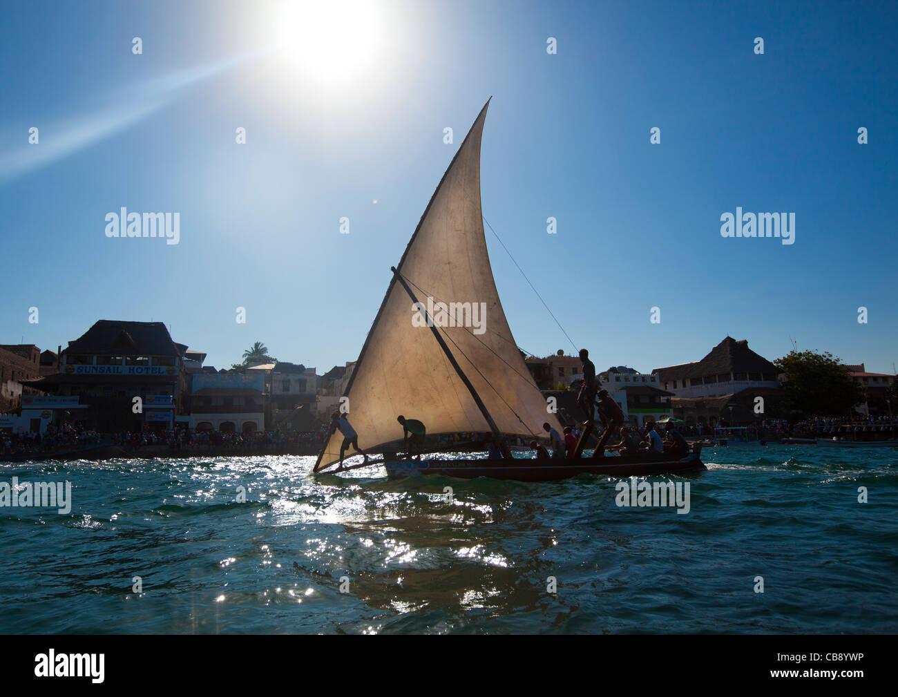 Steerage Of Dhow During The Dhow Race, Maulidi Festival, Lamu, Kenya Stock Photo