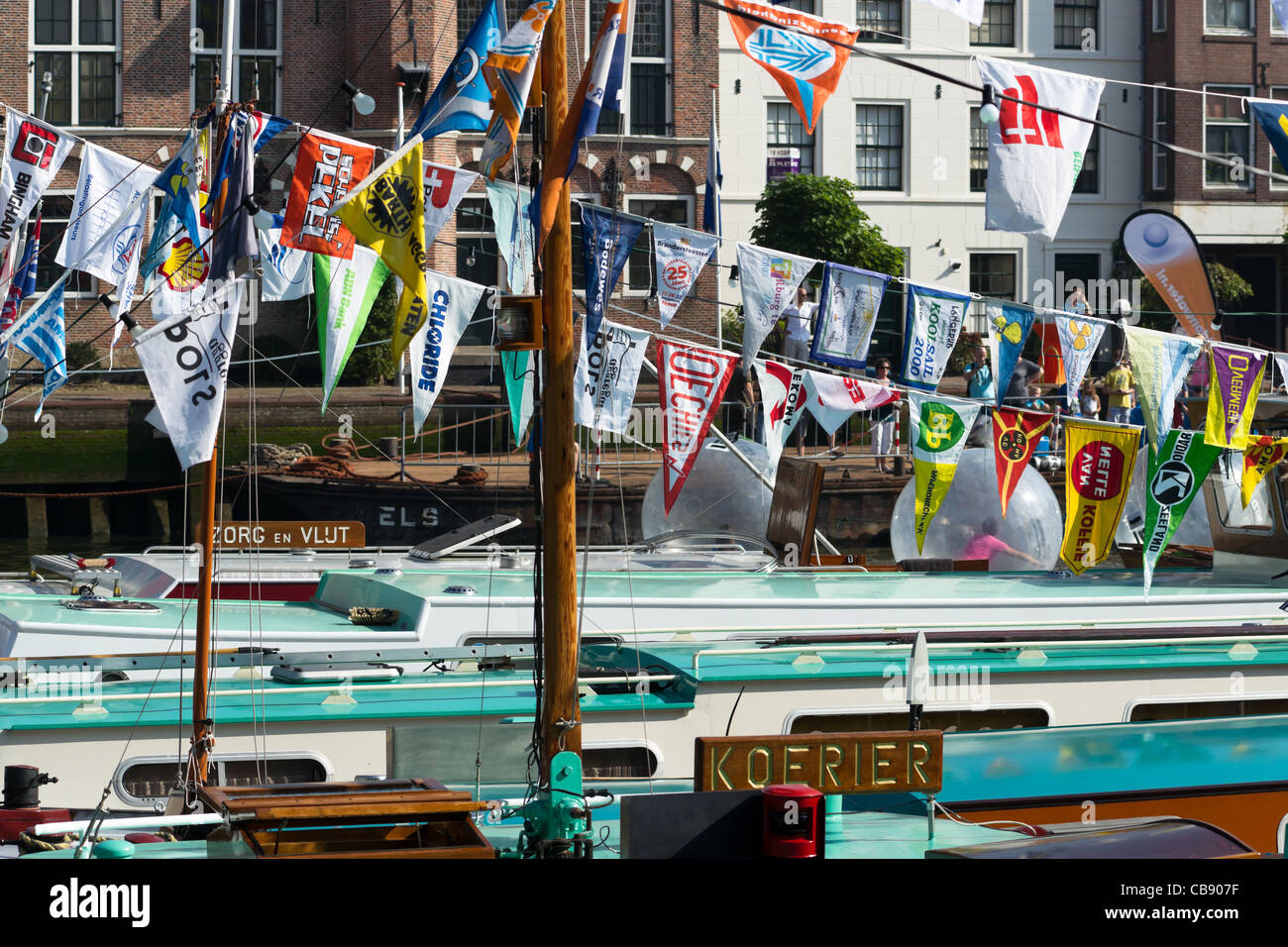 Ship decks and flags in Maassluis during the Furieade in 2011 - Stock Image