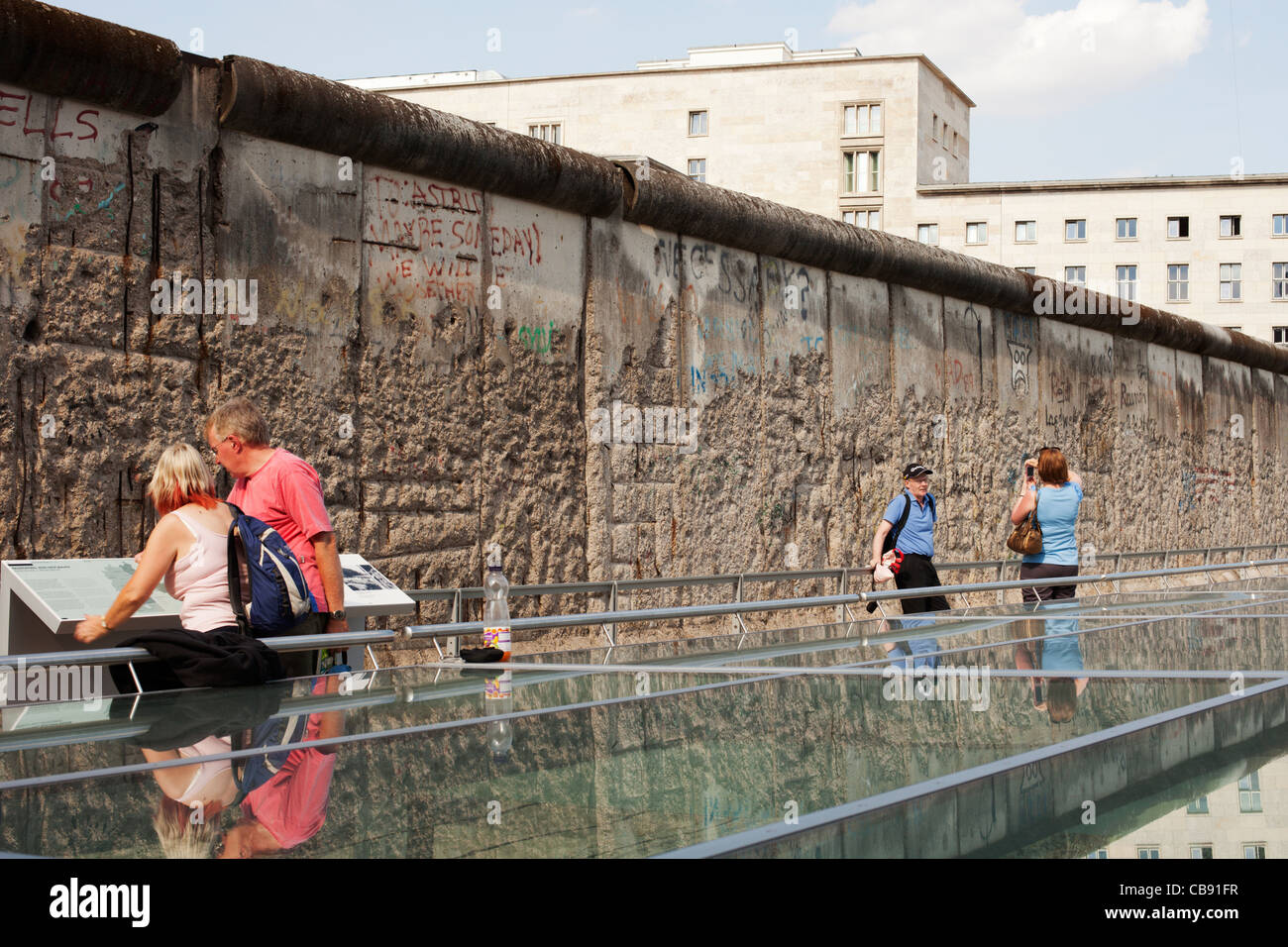 Sightseers at the Berlin Wall Monument - a preserved section of the Berlin Wall that formerly separated East from - Stock Image