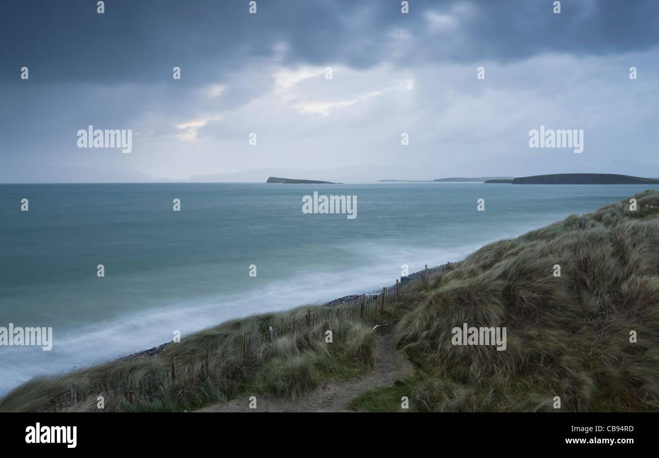 Wind and rain over Clew Bay County Mayo Ireland - Stock Image