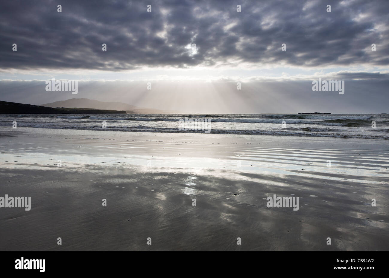 Sunset over Lettergesh beach, County Galway Ireland - Stock Image