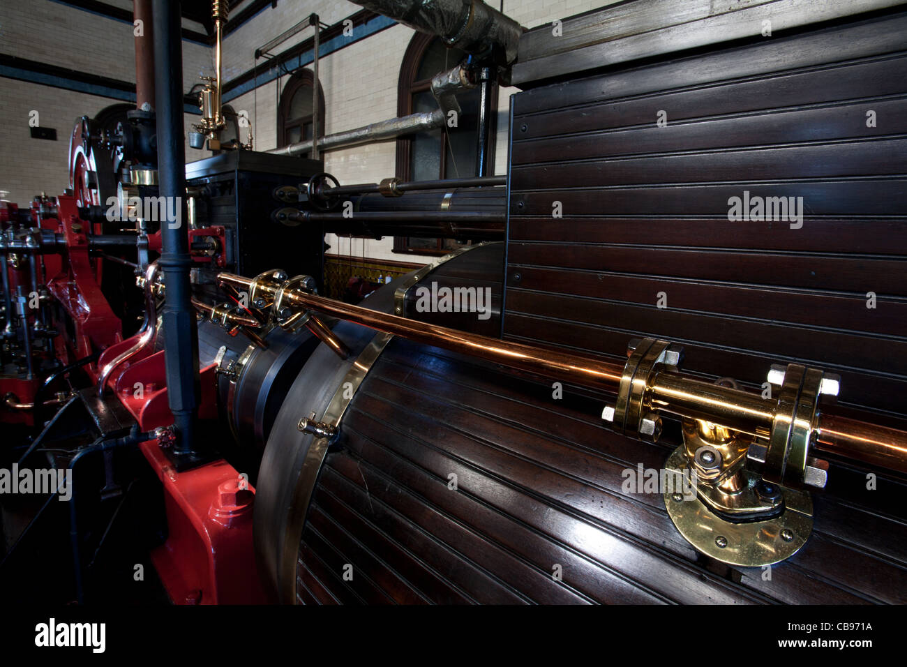 Tandem sewage pumping engine, Old Pumping Station, Cambridge, UK - Stock Image