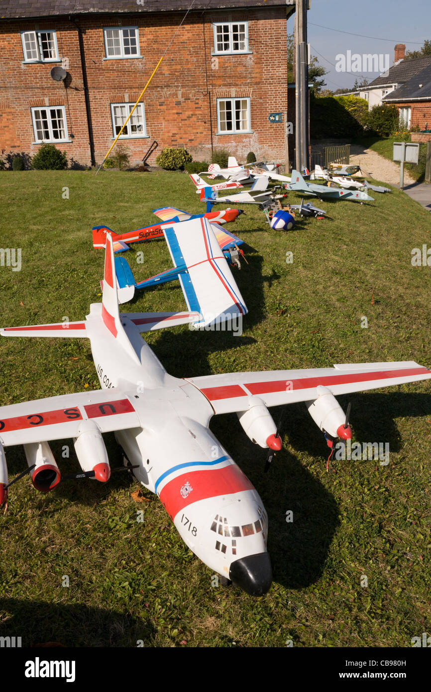 Collection of radio controlled model aircraft aeroplanes airplanes - Stock Image