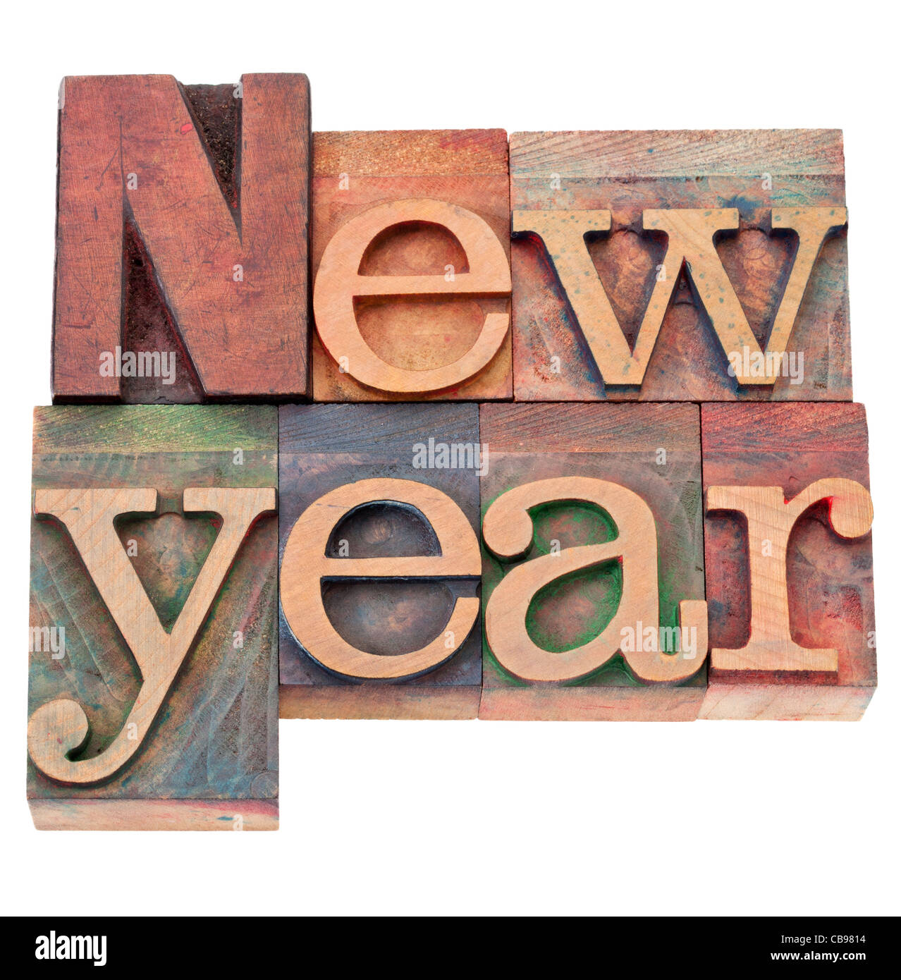 New Year - isolated text in vintage wood letterpress printing blocks - Stock Image