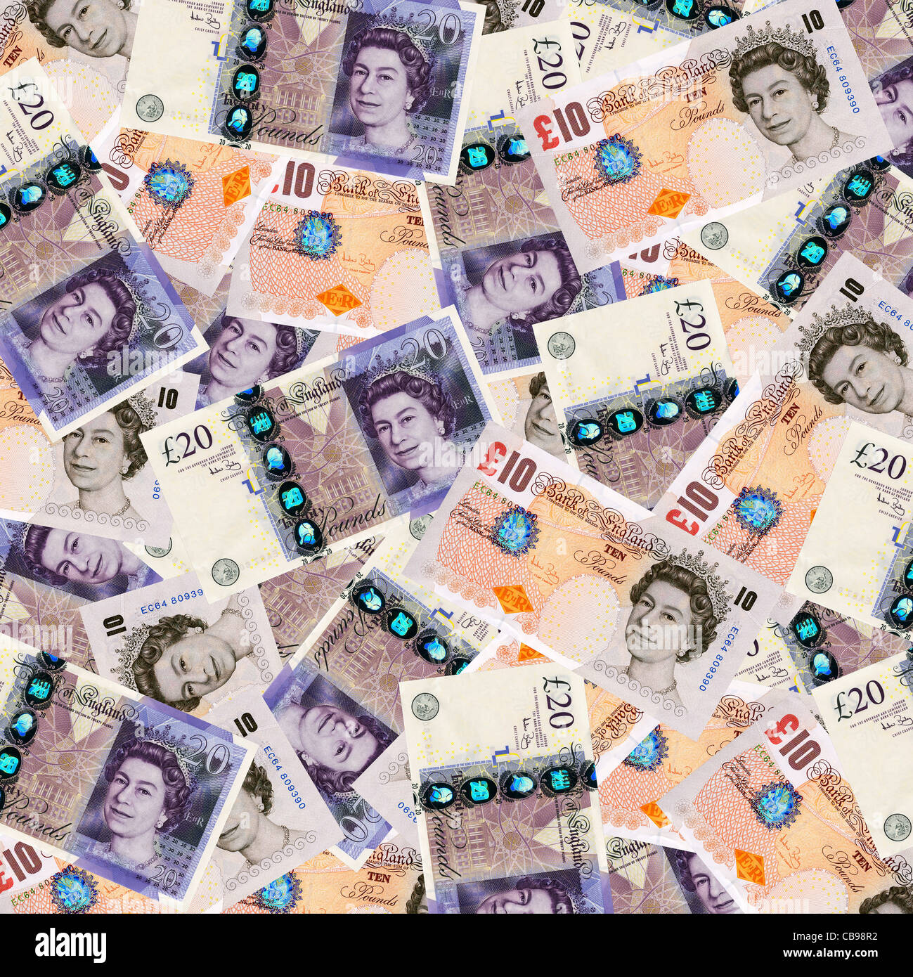 Money - ten and twenty pound notes sterling currency overhead view - Stock Image