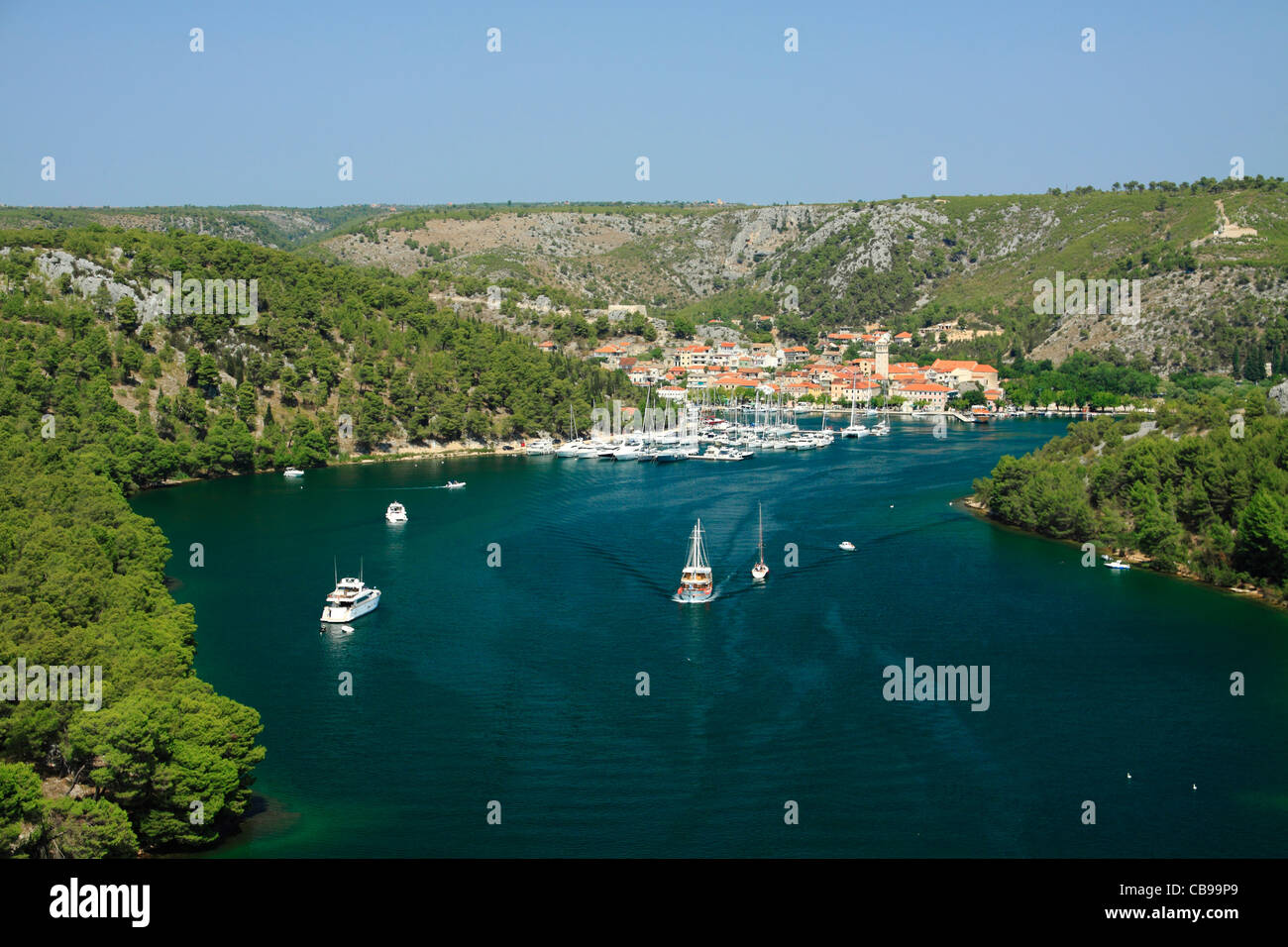 Krka river and Skradin, Croatia Stock Photo