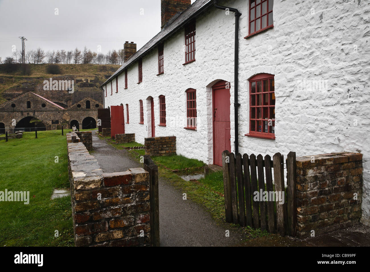 Preserved workers' cottages at Blaenavon Ironworks, Torfaen, Wales Stock Photo