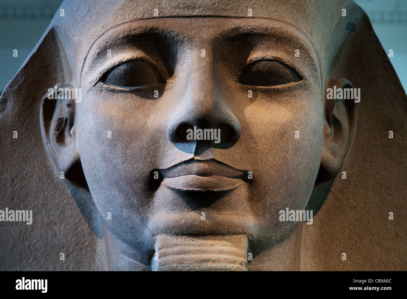 Ramses II stone head, British Museum, London, UK - Stock Image