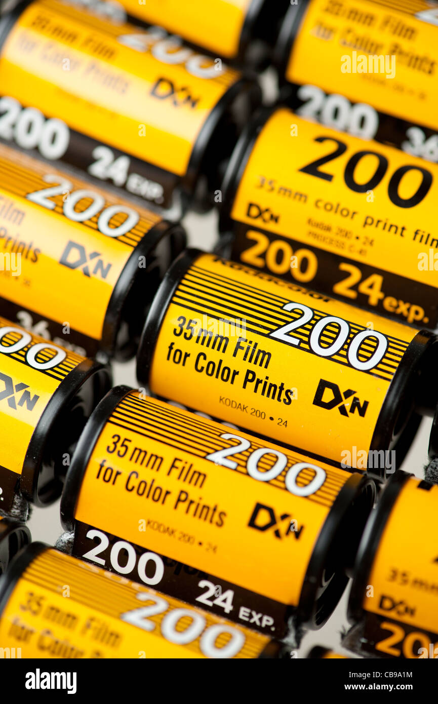 old kodak 35 mm colour film C41 process canisters - Stock Image