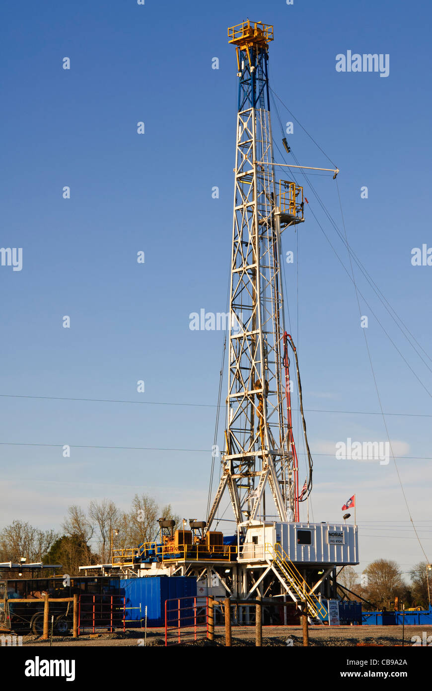 Drilling rig at a shale gas drill site in Guy, Arkansas, USA. - Stock Image