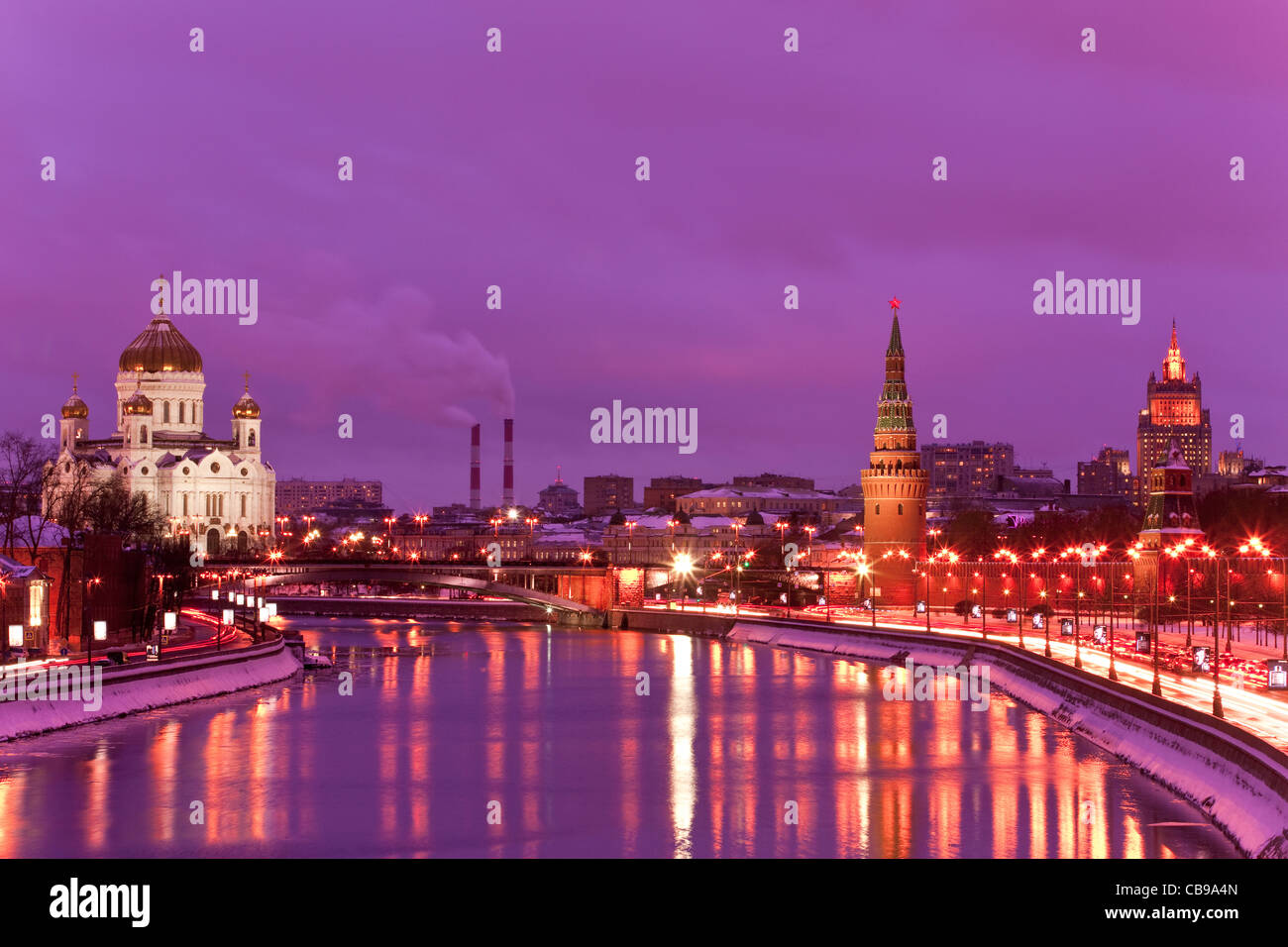 Kremlin and Cathedral of Christ the Saviour, Moscow, Russian Federation at dusk - Stock Image