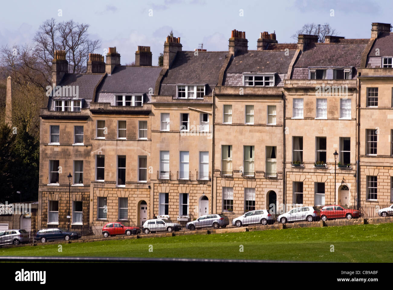 A row of houses in city centre bath somerset england uk stock