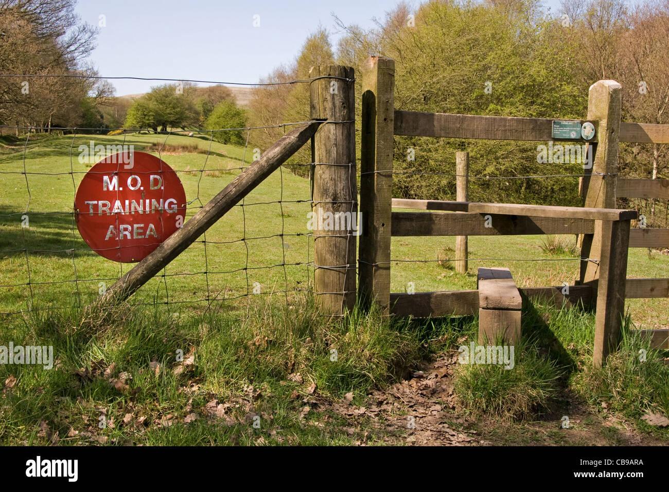 Public footpath through military training area, Holcombe, West Pennines, Bury, Lancashire, UK Stock Photo