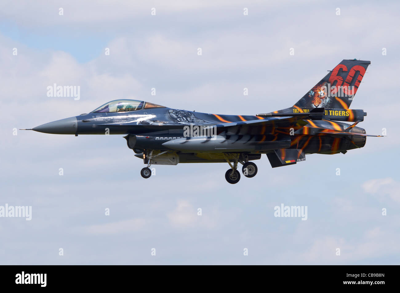 SABCA F-16AM Fighting Falcon variant of the F-16, operated by the Belgian Air Force, on approach for landing at - Stock Image