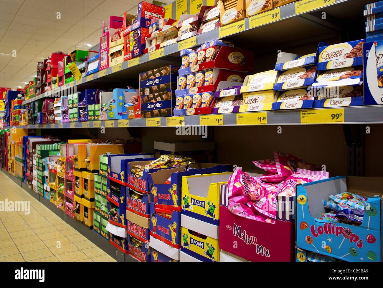 shelves in an Aldi store, UK Stock Photo