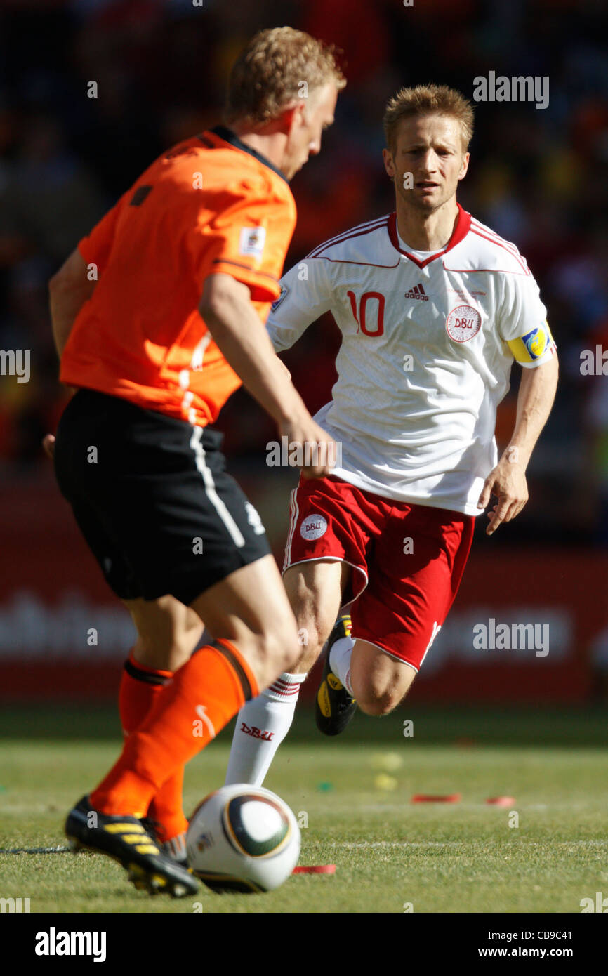 Denmark team captain Martin Jorgensen (10) in action during a 2010 World Cup Group E match against the Netherlands. Stock Photo