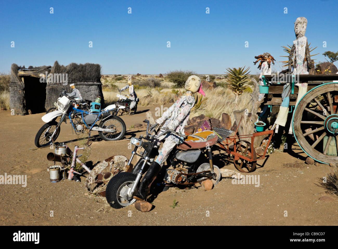 'Junkyard art' at Garas Quiver Tree Park, Gariganus Farm, Namibia - Stock Image