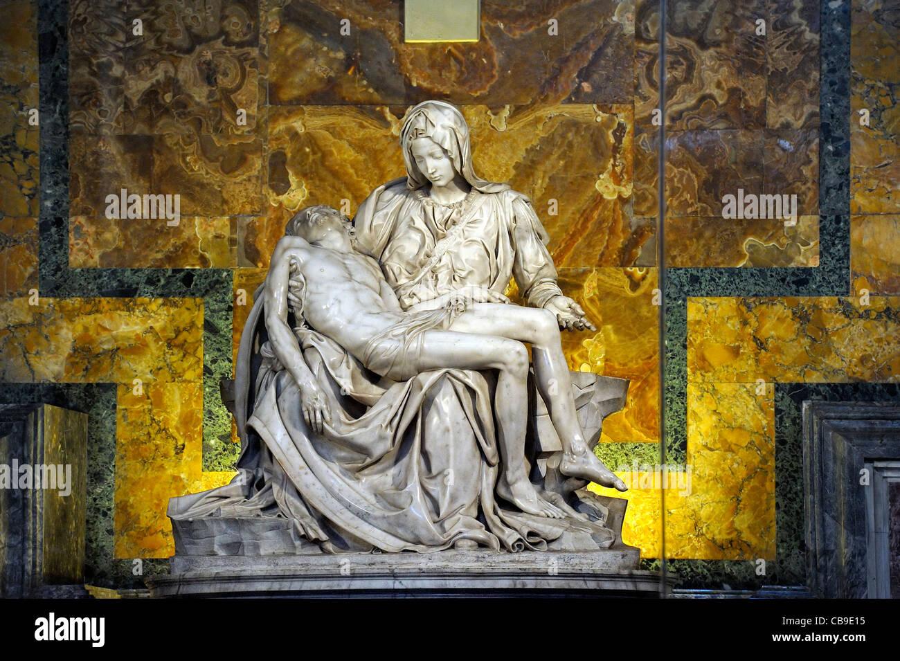 La Pieta by Michelangelo at St Peter Basilica, Rome, Italy. - Stock Image
