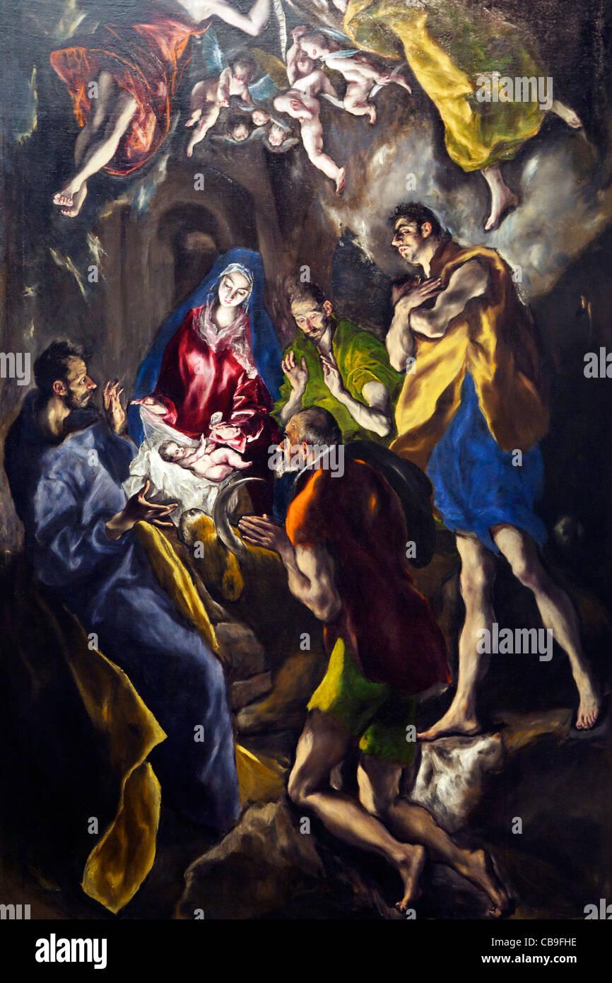 Adoration of the Shepherds, by El Greco, Museo Nacional del Prado Museum, Madrid, Spain, Europe, EU - Stock Image
