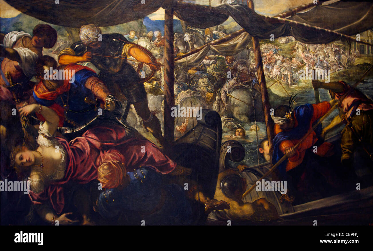 Battle Between the Turks and the Christians, Jacopo Robusti Tintoretto, 1588-1589, Museo Nacional del Prado Museum, - Stock Image