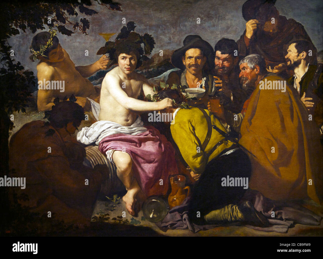 The Drinkers, or, The Feast of Bacchus, Diego Velazquez, circa 1629, Museo Nacional del Prado Museum, Madrid, Spain, Stock Photo