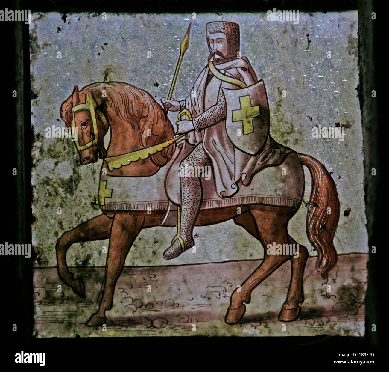 A stained glass window depicting a Knight Templar, Temple Church, Bodmin Moor, Cornwall - Stock Image