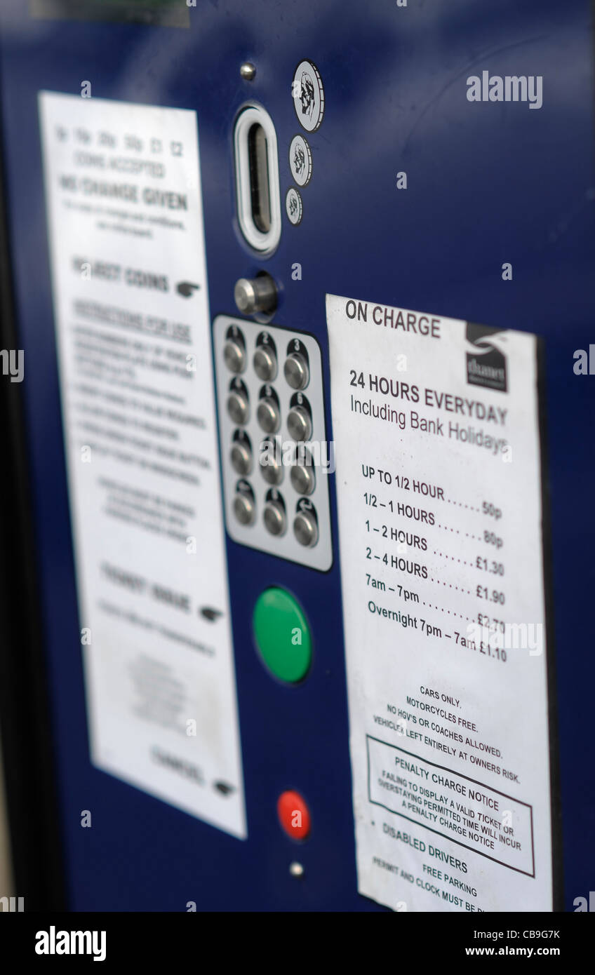 Parking charges in Albion Road, Birchington, Margate, Kent, 28th November 2011 Stock Photo