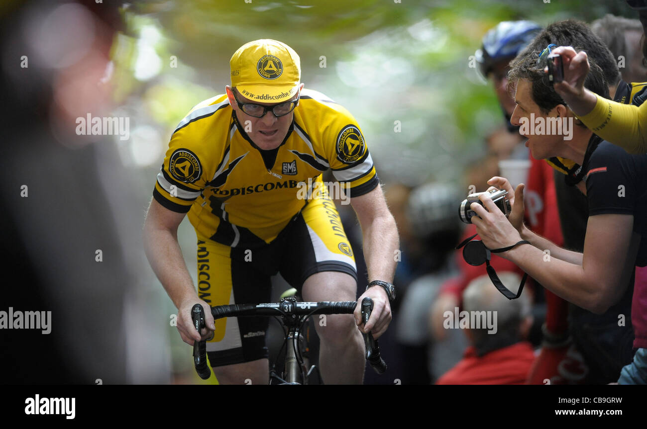 Andrew Green - Addiscombe Cycling Club takes on the challenge of the Yorks Hill climb thought to be the old cycle - Stock Image