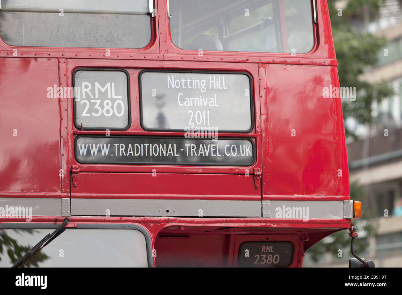 NOTTING HILL CARNIVAL RED BUS, LONDON, ENGLAND - Stock Image