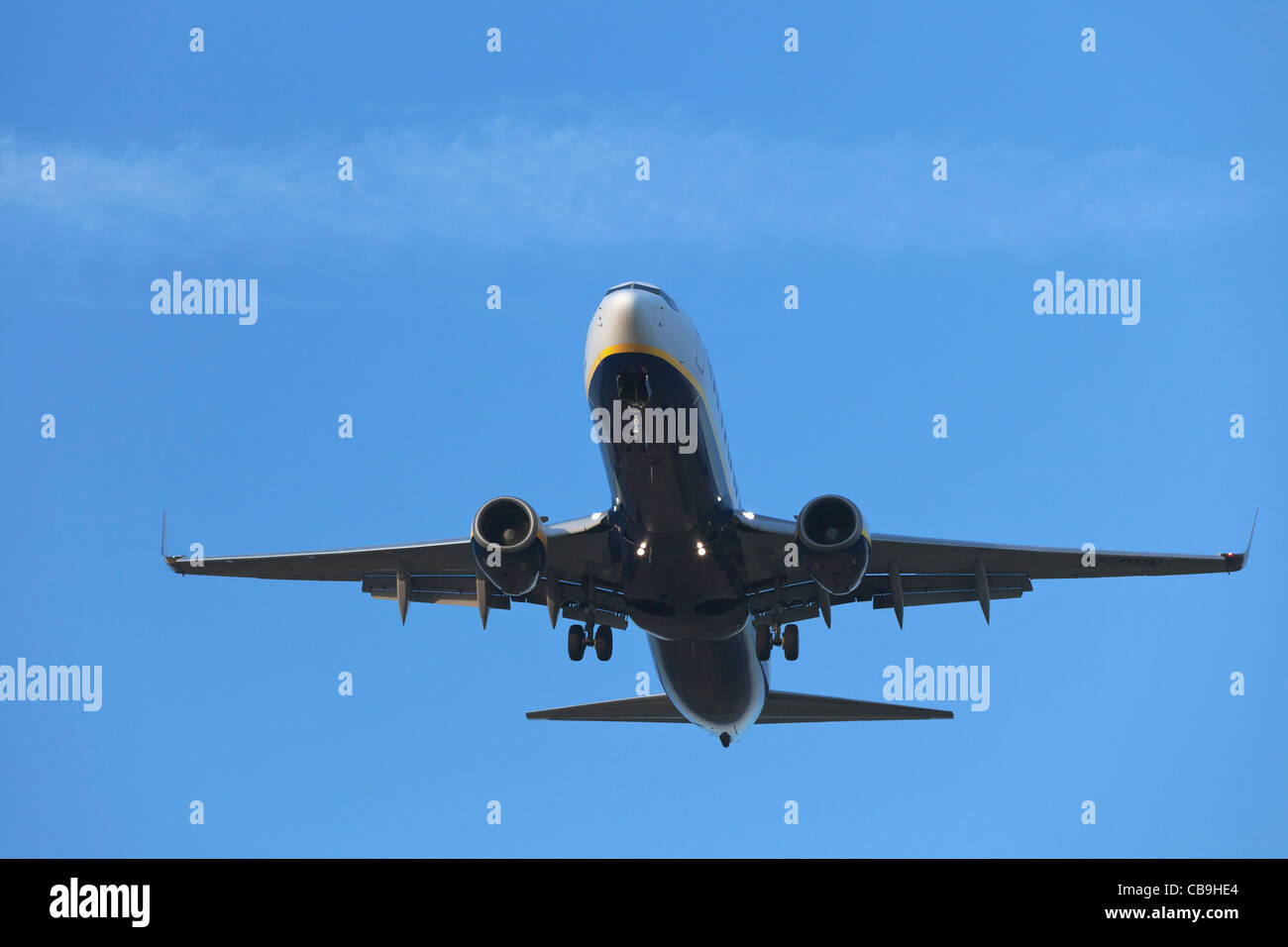 Ryanair Aircraft Boeing 737 on final approach - Stock Image