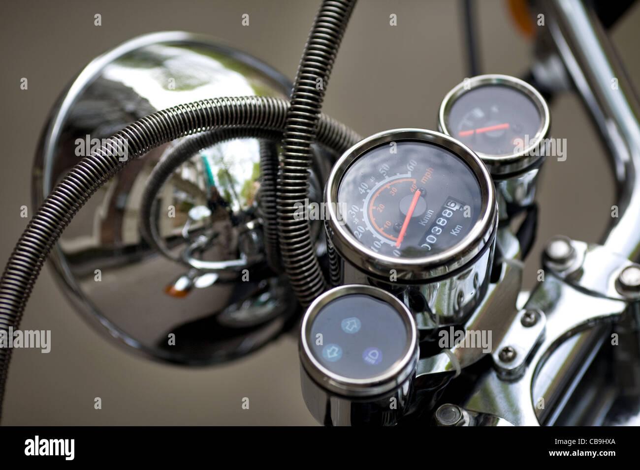 Motorcycle headlamp detail - Stock Image