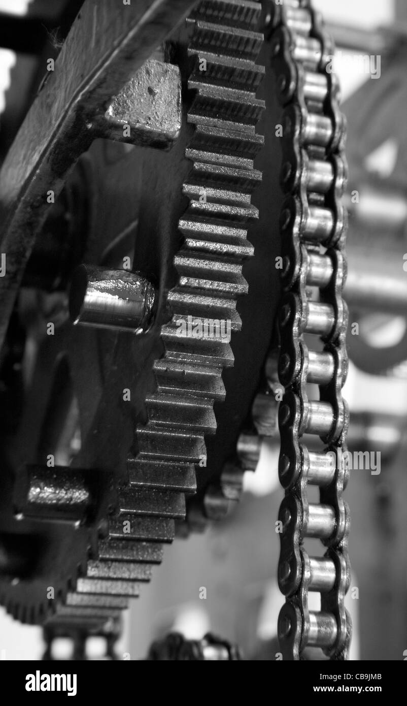 detail of clockwork from clock tower - Stock Image