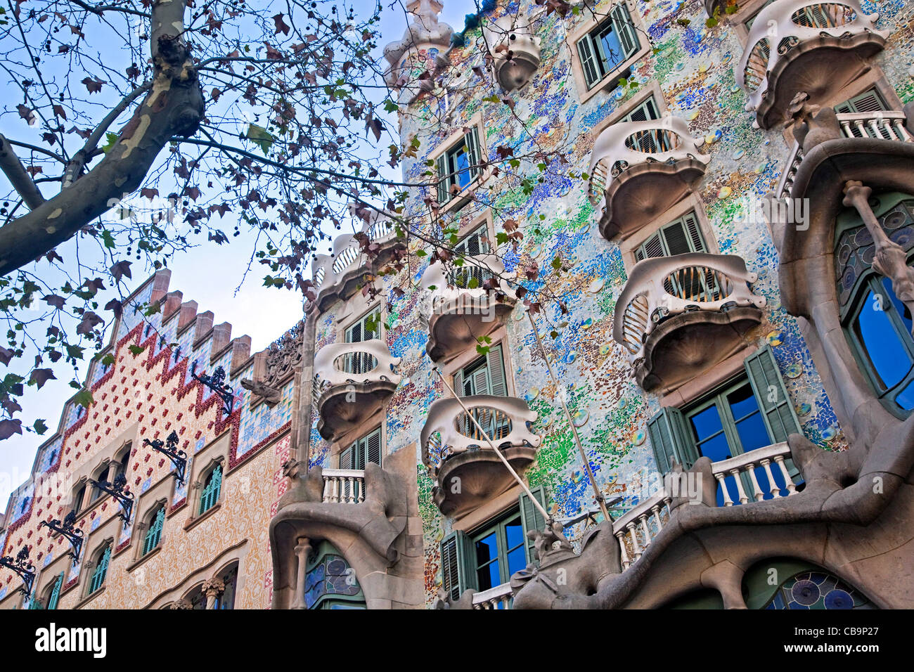 Casa Milà / La Pedrera, building designed by the Catalan architect Antoni Gaudí, Barcelona, Spain - Stock Image